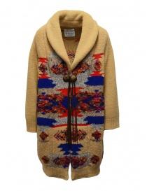 Womens coats online: Coohem Maxi geometric cardigan in beige wool