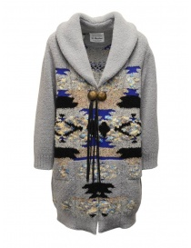 Womens coats online: Coohem maxi geometric cardigan in grey