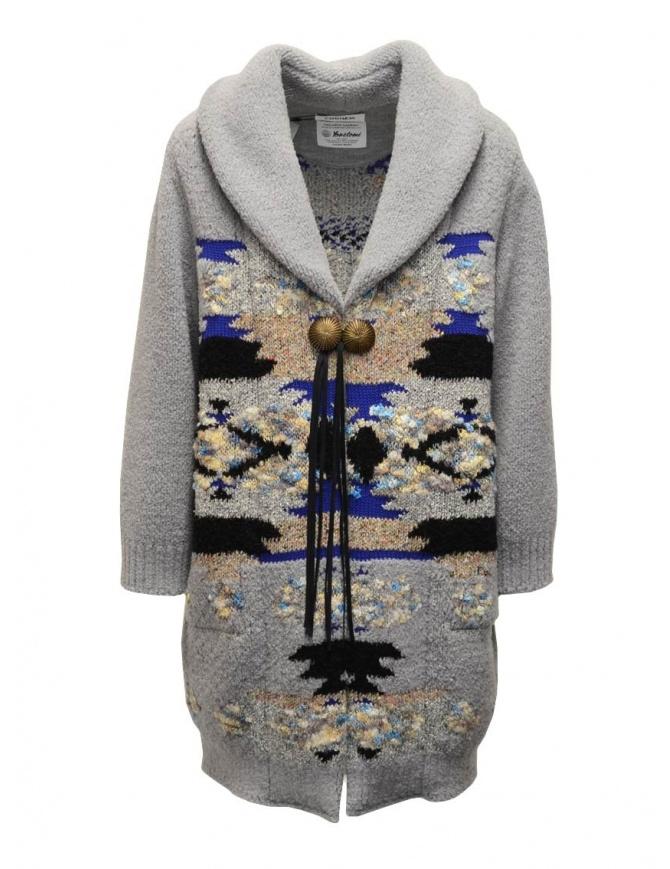 Coohem Maxi cardigan grigio con stampa geometrica 204-003 GREY cappotti donna online shopping