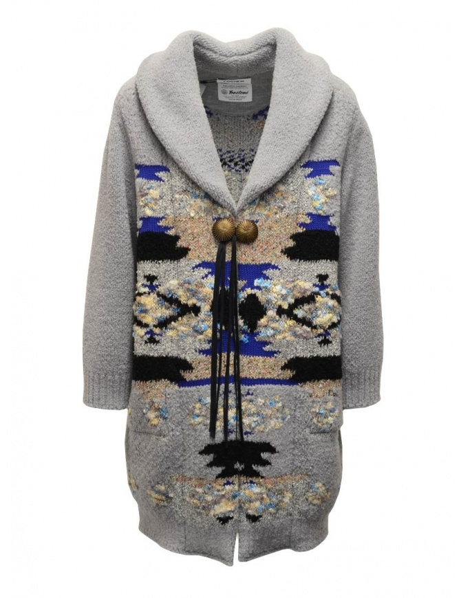 Coohem maxi geometric cardigan in grey 204-003 GREY womens coats online shopping