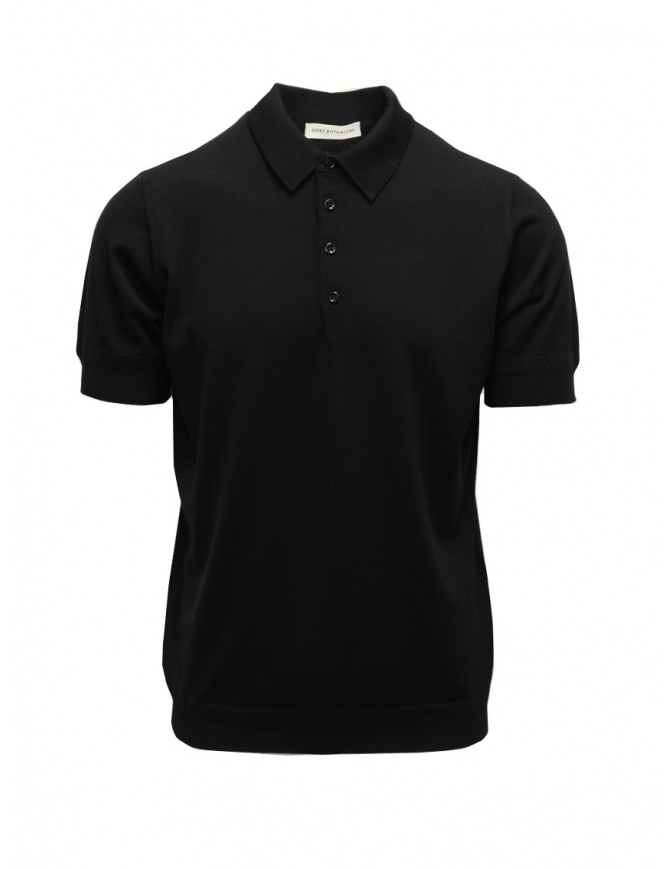 Goes Botanical black short-sleeved polo shirt 105 NERO mens t shirts online shopping