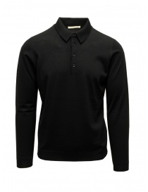 Mens knitwear online: Goes Botanical black long-sleeve polo shirt
