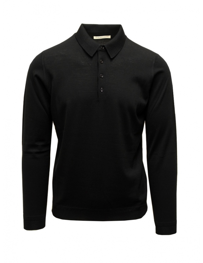 Goes Botanical black long-sleeve polo shirt 103 NERO mens knitwear online shopping