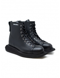 Mens shoes online: BePositive Punk Kawa black leather boots for man