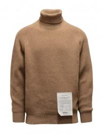 Mens knitwear online: Ballantyne Raw Diamond camel turtleneck sweater