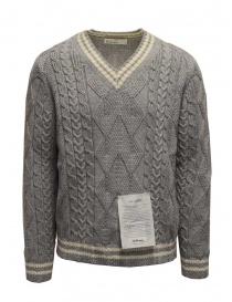 Ballantyne Raw Diamond pullover scollo a V grigio e bianco online