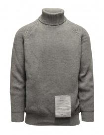 Mens knitwear online: Ballantyne Raw Diamond grey turtleneck sweater