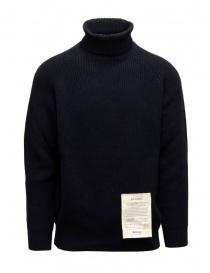 Mens knitwear online: Ballantyne Raw Diamond dark blue turtleneck sweater