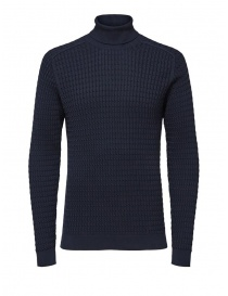 Selected Homme blue cotton cable-knit turtleneck 6069113 SLHCARLOS ROLL NECK W order online