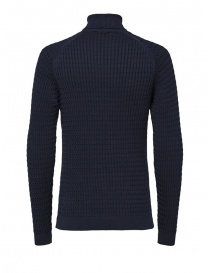 Selected Homme blue cotton cable-knit turtleneck