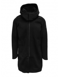 Mens coats online: Descente Fusionknit Canvas long coat in recycled fabric