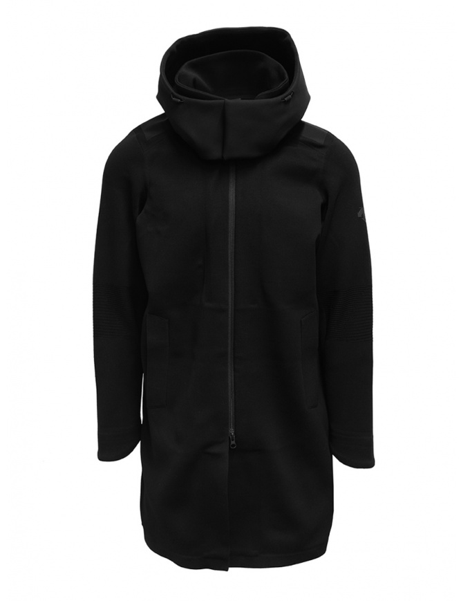 Descente Fusionknit Canvas long coat in recycled fabric DJMQGK01 BK mens coats online shopping