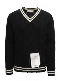 Ballantyne Raw Diamond pullover scollo a V nero e bianco R2P062 5K018 95514 BLK-WHT order online