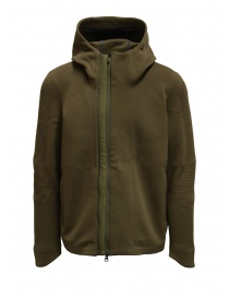 Mens knitwear online: Descente Fusionknit Crescent green hooded jacket