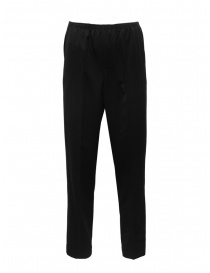 Mens trousers online: Cellar Door Alfred black trousers with elastic waist