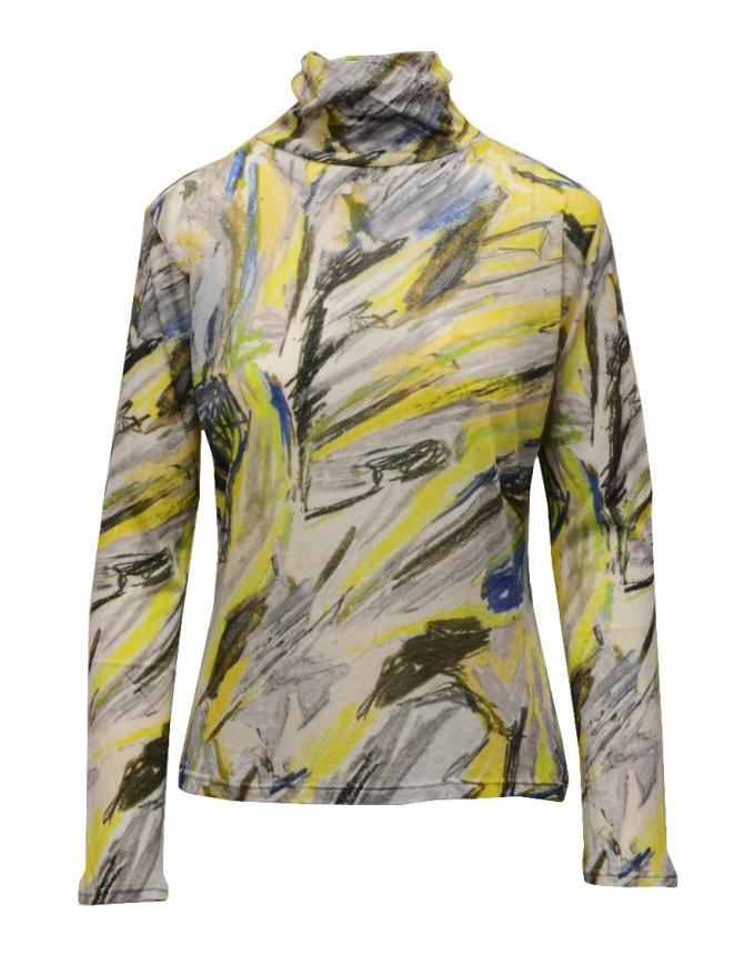 Plantation yellow colored print cotton turtleneck sweatshirt PL09JJ167-06 YELLOW womens knitwear online shopping