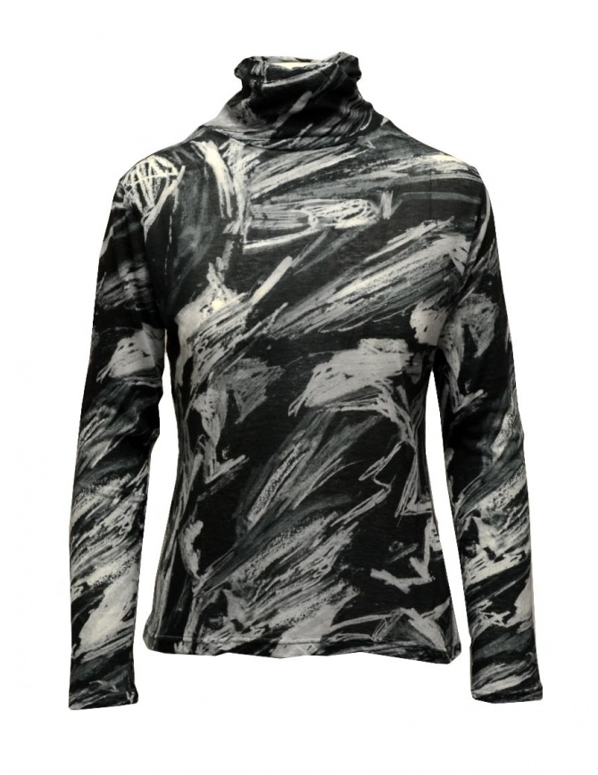 Plantation black and white printed cotton turtleneck sweatshirt PL09JJ167-26 BLACK womens knitwear online shopping
