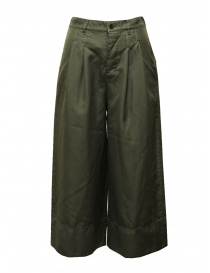 Womens trousers online: Zucca green wide cropped pants with elastic waistband
