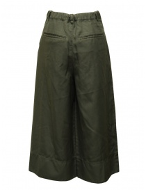Zucca green wide cropped pants with elastic waistband