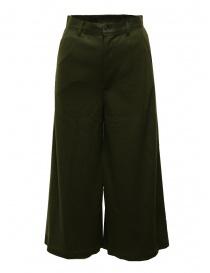 Zucca pantaloni ampi cropped in lana verde khaki online