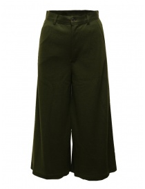 Zucca wide cropped pants in khaki green wool online