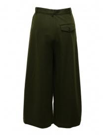 Zucca pantaloni ampi cropped in lana verde khaki