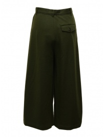 Zucca wide cropped pants in khaki green wool