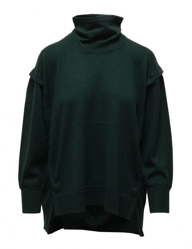 Zucca turtleneck sweater in dark green wool ZU09KN073-10 GREEN womens knitwear online shopping