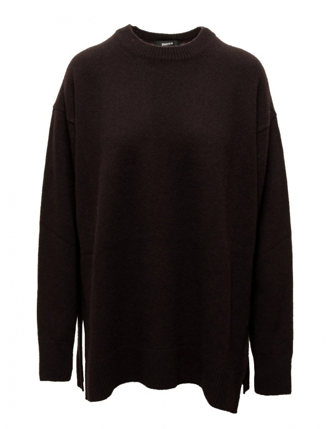 Zucca dark brown oversized sweater with side slits CZ09KN549-05 BROWN womens knitwear online shopping