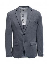 Selected blue and white micro diamond print blazer 16074234 order online
