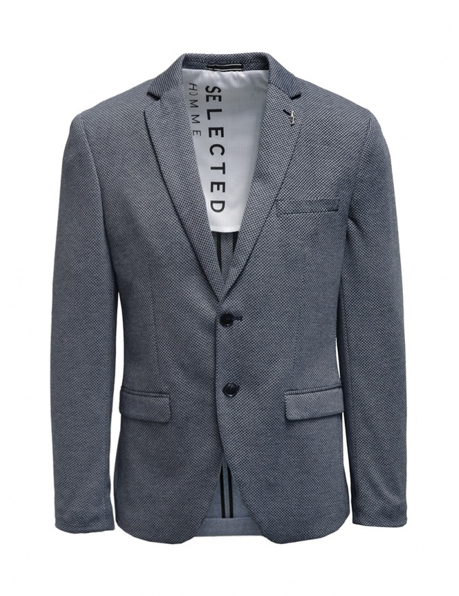 Selected blue and white micro diamond print blazer 16074234 mens suit jackets online shopping