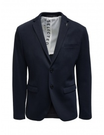 Giacche uomo online: Selected Homme blazer in cotone misto blu navy