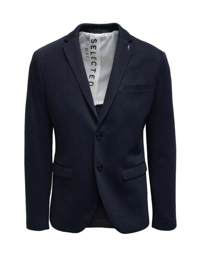 Selected Homme navy blue cotton blend blazer 16074243 NAVY BLAZER mens suit jackets online shopping