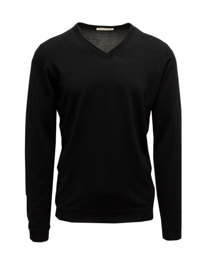 Goes Botanical black sweater V-neckline 102 NERO mens knitwear online shopping