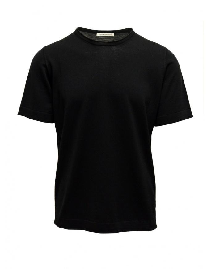 Goes Botanical black T-shirt in merino wool 100 NERO mens t shirts online shopping