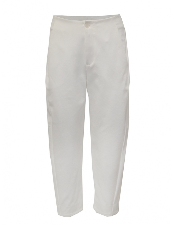 European Culture white cropped pants in viscose fleece 06L0 2545 0106 womens trousers online shopping