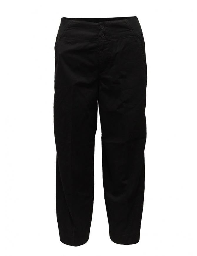 European Culture black ergonomic cropped pants 055U 3889 1600 womens trousers online shopping