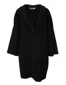 European Culture cappotto nero con bordi a taglio vivo online
