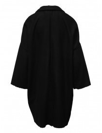 European Culture black coat with raw cut edges