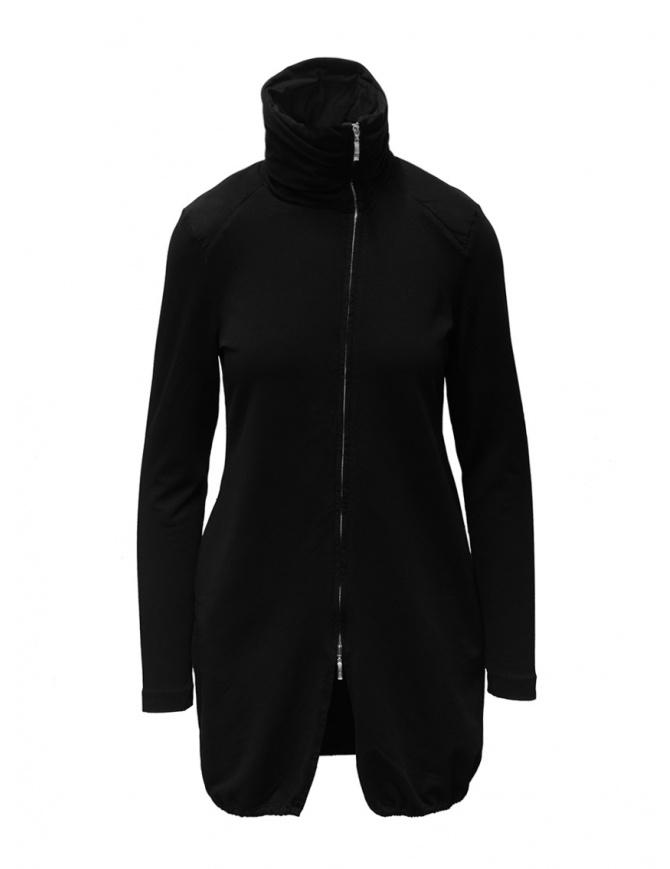 European Culture black long sweatshirt with zip 451U 2261 1600 womens knitwear online shopping