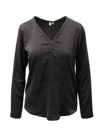 Womens shirts online: European Culture black silk blend blouse