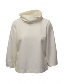 European Culture high neck sweatshirt in ivory white mixed viscose 45X0 2545 0106 order online
