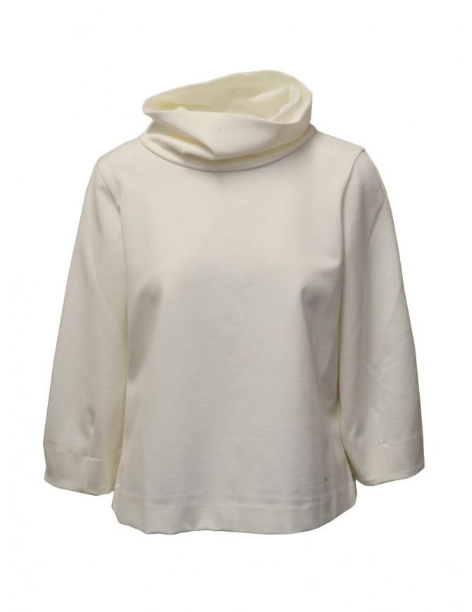 European Culture high neck sweatshirt in ivory white mixed viscose 45X0 2545 0106 womens knitwear online shopping