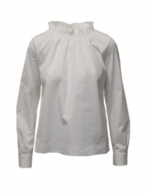 Womens shirts online: European Culture white shirt with gathered collar