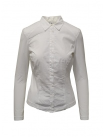 Womens shirts online: European Culture white shirt with jersey sleeves and sides