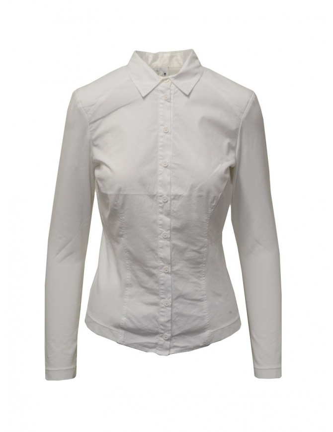 European Culture white shirt with jersey sleeves and sides 65FU 3217 1101 womens shirts online shopping