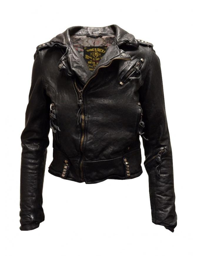 Rude Riders short biker jacket in black leather P55572 BIKER womens jackets online shopping