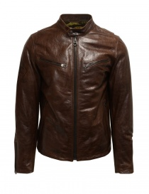 Mens jackets online: Rude Riders brown leather jacket for biker