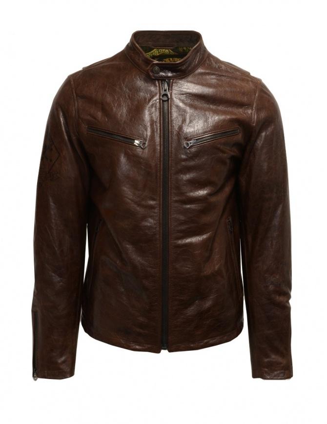 Rude Riders brown leather jacket for biker P94505 BIKER mens jackets online shopping