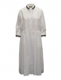 Womens dresses online: Miyao long white shirt dress with black embroidery